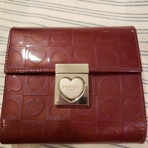 NWOT Lovcat wine color patent leather wallet